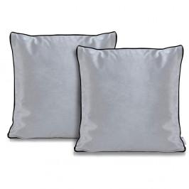 Sada 2 šedých povlaků na polštáře DecoKing Rimavelvet Silver, 45 x 45 cm