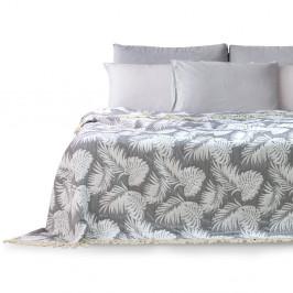 Šedý přehoz přes postel DecoKing Tropical Leafes, 240 x 260 cm