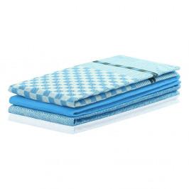 Sada 3 modrých bavlněných utěrek DecoKing Louie, 50 x 70 cm