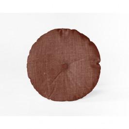 Vínový polštář Linen Couture Cojin Redondo Burgundy, ⌀ 45 cm