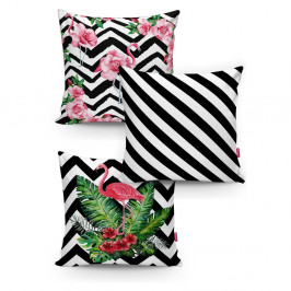 Sada 3 povlaků na polštáře Minimalist Cushion Covers BW Stripes Jungle, 45 x 45 cm