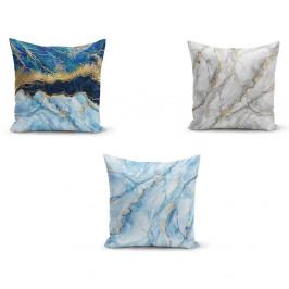 Sada 3 povlaků na polštáře Minimalist Cushion Covers Azuro Cassie, 45 x 45 cm