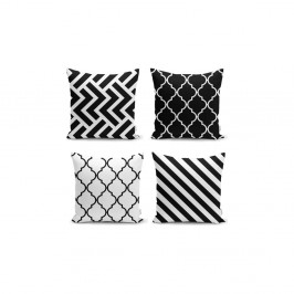 Sada 4 povlaků na polštáře Minimalist Cushion Covers BW Graphic Patterns, 45 x 45 cm