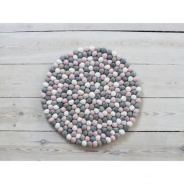 Světle růžovo-šedý kuličkový vlněný podsedák Wooldot Ball Chair Pad, ⌀ 39 cm