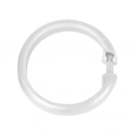 Sada 12 kusů bílých plastových kroužků nasprchový závěs Wenko