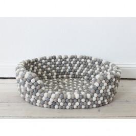 Světle šedo-bílý kuličkový vlněný pelíšek pro domácí zvířata Wooldot Ball Pet Basket, 80 x 60 cm