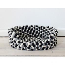 Černo-bílý kuličkový vlněný pelíšek pro domácí zvířata Wooldot Ball Pet Basket, 80 x 60 cm