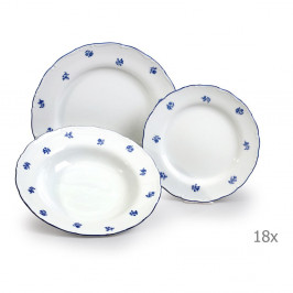 Sada 18 porcelánových talířů s modrou kytičkou Thun Ophelia