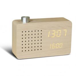 Béžový budík se žlutým LED displejem a rádiem Gingko Radio Click Clock