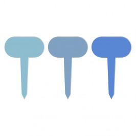 Sada 3 modrých tabulek k rostlinám Esschert Design Gardener, výška 11 cm