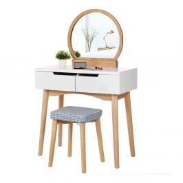 Dřevěný toaletní stolek se zrcadlem, stoličkou a dvěma zásuvkami Songmics