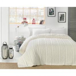 Světle krémový přehoz přes postel Knit, 220 x 240 cm