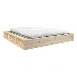 Dvoulůžková postel z masivního dřeva s futonem Double Latex a tatami Karup Design, 160x200cm