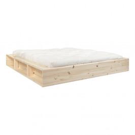 Dvoulůžková postel z masivního dřeva s úložným prostorem a futonem Double Latex Karup Design, 180x200cm