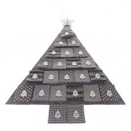 Šedý textilní adventní kalendář ve tvaru stromu, délka 68 cm