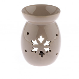 Béžová keramická aromalampa s motivem vločky Dakls, výška 14 cm