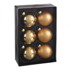 Sada 6 vánočních ozdob ve zlaté barvě Unimasa Brightness