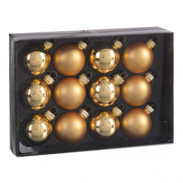 Sada 12 vánočních ozdob ve zlaté barvě Unimasa Brightness