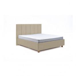 Béžová dvoulůžková postel s úložným prostorem ProSpánek Wega, 160 x 200 cm