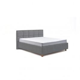 Modrošedá dvoulůžková postel s roštem a úložným prostorem ProSpánek Karme, 160 x 200 cm