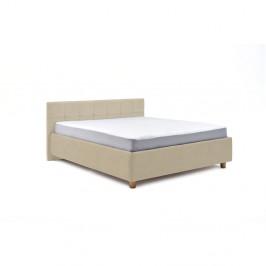 Béžová dvoulůžková postel s úložným prostorem ProSpánek Leda, 160 x 200 cm