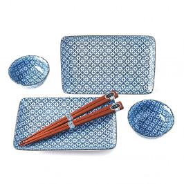 Modro-bílý servírovací set na sushi pro 2 osoby MIJ Flower