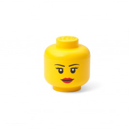 Žlutá úložná krabice ve tvaru hlavy LEGO® girl, 10,5x10,6x12 cm