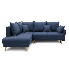 Tmavě modrá rozkládací rohová pohovka Bobochic Paris Mia L, levý roh