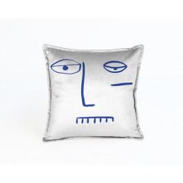 Modro-šedý sametový polštář Velvet Atelier Lele,45x45cm