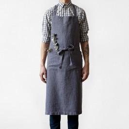 Tmavě šedá lněná zástěra Linen Tales Chef, délka 100cm