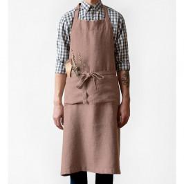 Starofialová lněná zástěra Linen Tales Chef, délka 100cm