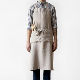 Béžová lněná zástěra Linen Tales Chef, délka 100cm