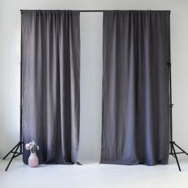 Tmavě šedý lněný závěs s tunýlkem Linen Tales Night Time, 275x140cm