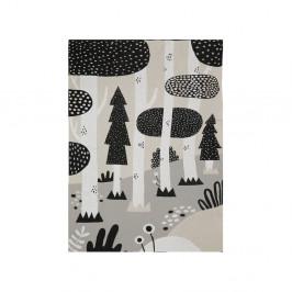 Černo-šedý dětský bavlněný přehoz přes postel Södahl Magic Forest,100x150cm
