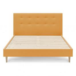 Žlutá dvoulůžková postel Bobochic Paris Rory Light. 160 x 200 cm