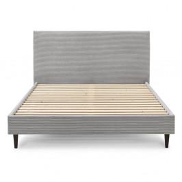 Šedá manšestrová dvoulůžková postel Bobochic Paris Anja Dark, 180 x 200 cm