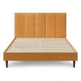 Žlutá sametová dvoulůžková postel Bobochic Paris Vivara Dark,180x200cm
