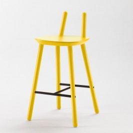 Žlutá  barová židle z masivu EMKO Naïve