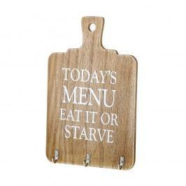 Nástěnná dekorace ze dřeva s háčky Unimasa Eat It or Starve