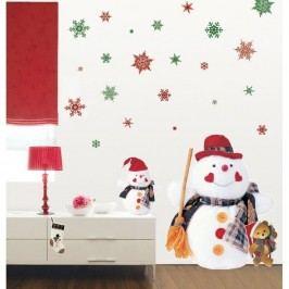 Sada 30 vánočních samolepek Ambiance Christmas Red Flakes