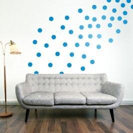 Samolepka na stěnu Wallvinil Puntíky 64 ks, modré