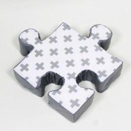 Šedý polštářek Puzzle Cross