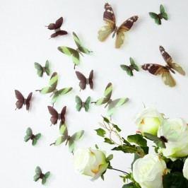 Sada 18 zelených adhezivních 3D samolepek Ambiance Butterflies