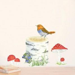 Znovu snímatelná samolepka Trunk, Bird & Toadstools, 30x21 cm