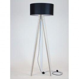 Bílá stojací lampa s černým stínítkem a černo-bílým kabelem Ragaba Wanda