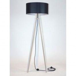 Bílá stojací lampa s černým stínítkem a černým kabelem Ragaba Wanda