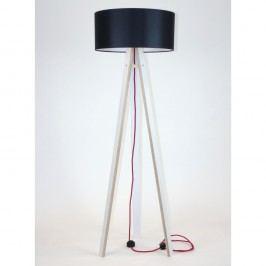 Bílá stojací lampa s černým stínítkem a červeným kabelem Ragaba Wanda