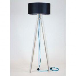Bílá stojací lampa s černým stínítkem a tyrkysovým kabelem Ragaba Wanda
