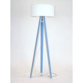 Modrá stojací lampa s bílým stínítkem a transparentním kabelem Ragaba Wanda