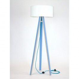 Modrá stojací lampa s bílým stínítkem a tyrkysovým kabelem Ragaba Wanda